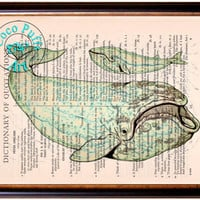 Sea Green Baling Whales Art Beautifully Upcycled Vintage Dictionary Page Book Art Print, Sea Life Print
