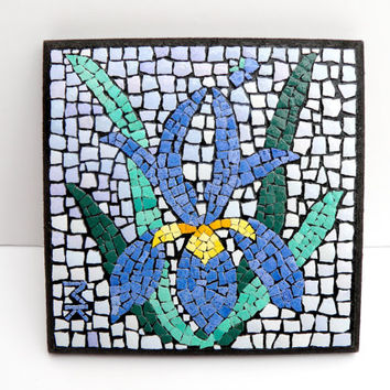 ACEO Art Abstract Miniature Painting EggShell Mosaic Vintage Style Mixed Media Collage Plywood Flowers My Signature  Home Decor Mini Gift