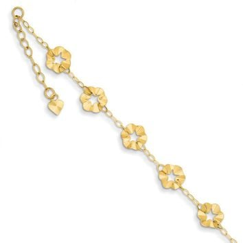 14kt Yellow Gold Adjustable Star Flower Charm Ankle Bracelet