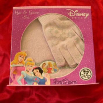Licensed cool NEW Disney PRINCESS Cinderella & Belle & Aurora PINK GLOVE BEANIE HAT SET 4-14