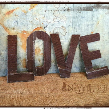 Old Tin Letters, LOVE, Rusty, Hand Cut Rustic, Wedding Prop, Engagement Prop, Photo Shoot or Bridal Shower Prop Rust