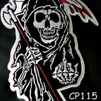 GRIM REAPER OUTLAW LARGE BACK PATCH FLIPPING HAND FOR JACKET VEST