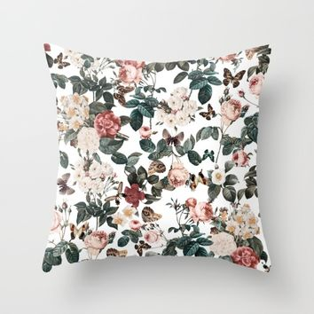 Floral and Butterflies II Throw Pillow by Burcu Korkmazyurek