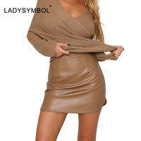 LADYSYMBOL 2016 Autumn PU High Waist Faux Leather Skirt Women Party Brown Elegant Mini Skirt Winter Sexy Streetwear Black Skirt