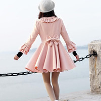 women's Princess style cute bow Fitted Wool  Coat jacket pink dy02 S-XL