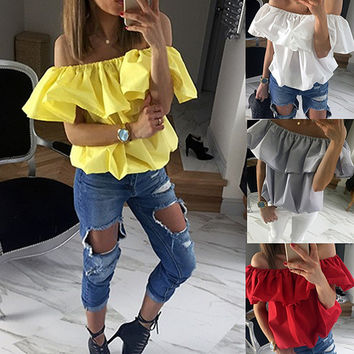 2016 Summer Style Sexy Off Shoulder Shirts Women Blouses Casual Solid Slash Neck Ruffles Tops Party Tubes Camisa Feminina