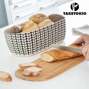 TakeTokio Bread Bin with Bamboo Cutting Board