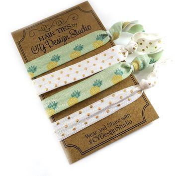 Be a Pineapple Hair Ties Set - Pineapple Hair Tie Gift Set - Arrows - Gold Foil - Ouchless Hairties - Party Favor