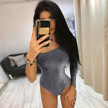Women One Shoulder  Bodysuit Single Long Sleeve 2019 Spring Shiny Bottoming Female Sexy Solid Bodycon Romper Skinny Jumpsuit