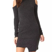 Grey Plain Irregular Cut Out High Neck Mini Dress