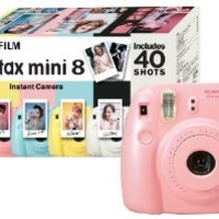 Fujifilm Instax Mini 8 Instant Camera Gift Bundle with 40 Shots - Pink