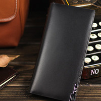 Leather men long wallet clutch black vintage modern clutch men phone p | EverHandmade