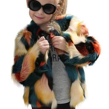 Kids Baby Girls Autumn Winter Faux Fur Coat Jacket Thick Warm Stitching long sleeve coat Outwear Clothes drop ship