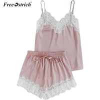 Free Ostrich 2018 Lace Cami & Shorts Pajamas Set Women V Neck Plain Spaghetti Strap Sleeveless Sexy Summer Sleepwear N0