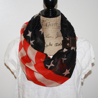 Vintage American Flag Infinity Scarf leather cuff Patriotic July 4th Scarf Red Tan and Blue Infinity Flag Scarf Wear Infinity Scarves