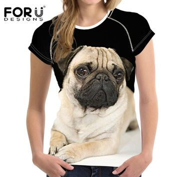 Hot Sale 3D Pug Dog Printed Womens's T Shirt Europ Summer Women/Girl Funny Animal Cool Novelty Short Sleeve Tee Tops Clothes