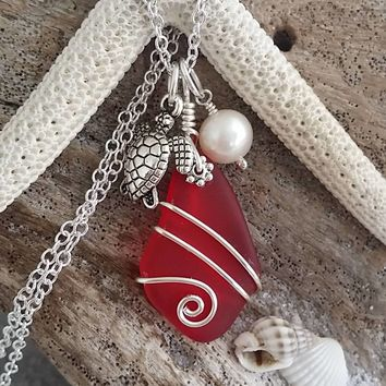 "Handmade in Hawaii, Red Ruby color ""July Birthstone"" sea glass necklace, turtle charm and freshwater pearl, FREE gift wrap gift message"