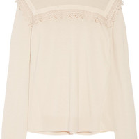 Moncler - Lace-trimmed wool and shell turtleneck sweater
