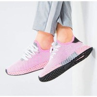 Adidas Fashion New Deerupt Running Shoes Runner Trifolium Mesh Sneakers Pink Surface With Black Tail