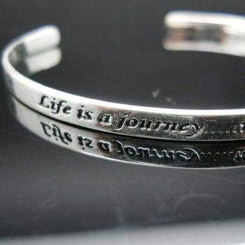 Sterling Cuff Bracelet Inspirational Life Is A Journey Thin Small Silver Cuff 925 LA