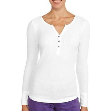 Faded Glory Women's Long Sleeve Henley Thermal - Walmart.com
