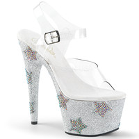 White Ankle Strap Sandal 7 Inch Heels-Stripper Shoes