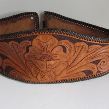 Vintage Hand Tooled Leather Kidney Belt Floral Tooled Belt Leather Lacing