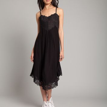 Lovely Lace Up Dress in Black