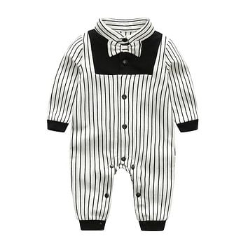 Newest Autumn Baby Boy Clothes Cotton Long Sleeved Toddler Boy Clothing Striped Bow Tie Gentleman Infant Baby Rompers