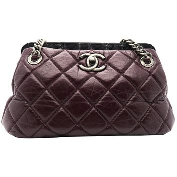 Chanel Burgundy Quilted Aged Calf Leather SHW Chain Shoulder Bag