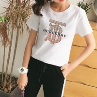 """Burberry"" Women's Leisure  Fashion Letter Printing  Short Sleeve Trousers Two-Piece Casual Wear"