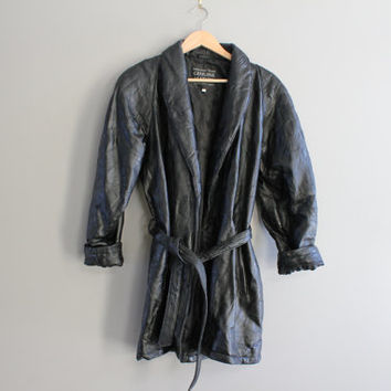 Italian Black Leather Jacket Genuine Leather Robe Tie-Up Leather Jacket Patch Work Leather Parka 80s 90s Vintage  Size M - L