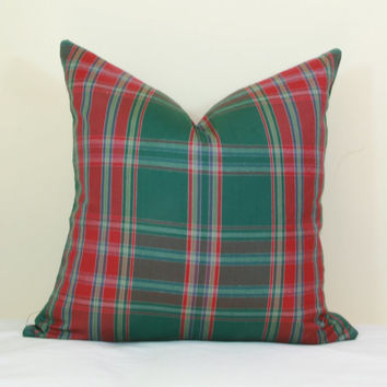 Red green plaid pillow cover 16x16 18x18 20x20 22x22 24x24 26x26 Euro sham Lumbar pillow Christmas pillow 12x20 12x24 14x26 16x24 16x26