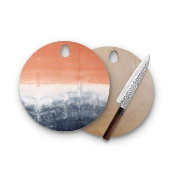 Peach Tie Dye Round Cutting Board Trendy Unique Home Decor Cheese Board