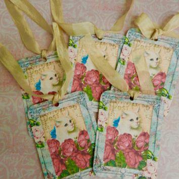 Cat Gift Tags Cat Lover Gift Kitten Gift Tags Set 5 Handmade Shabby Chic