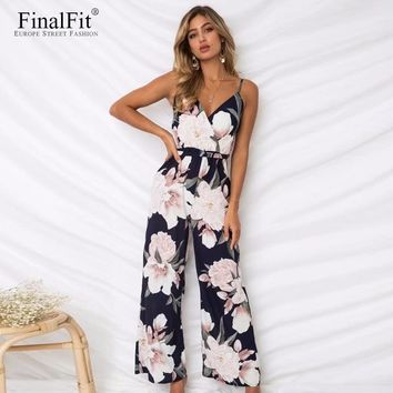 Floral Cami Jumpsuit Women Sashes Belted Loose Wide Leg Strap Women Jumpsuit Rompers