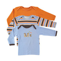 Luvable Friends 3-Pack Long Sleeve Tee Tops | Affordable Infant Clothing
