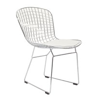 LexMod Bertoia Style Side Chair with White Cushion