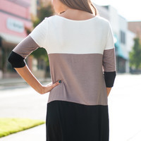 Stripe Pocket Tunic, Ivory/Mocha