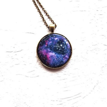 Galaxy necklace Nebula pendant Space Pendant Purple Blue Pink Black Gift For Her Spring Night Sky