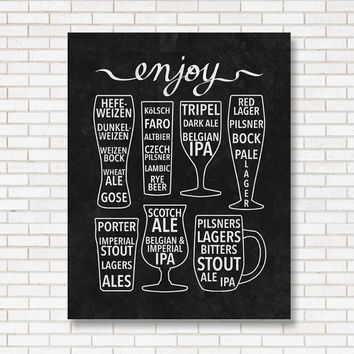 Enjoy Beer Print - Black & White - Bar Poster - Chalkboard - Craft Beer - Infographic - Gift for Him or Her - Beer Lover - Brew pub - Art