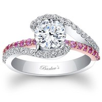 "Barkev's ""Whisper Halo"" Pink Sapphire Diamond Engagement Ring"