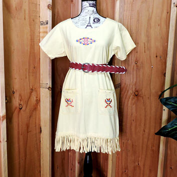 Fringed denim dress / size S / M / tribal embroidered fringe dress / southwestern yellow tunic dress