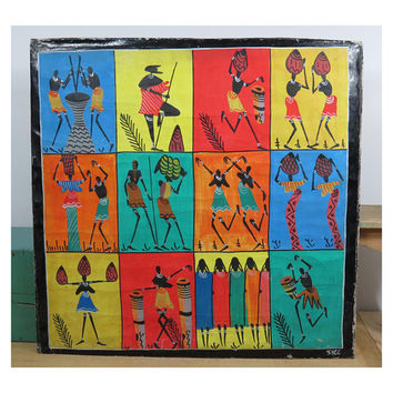 African Tribal Folk Art Painting on Cloth . Tanzania . Signed . Drums Dancing . Vintage . Bright Colorful Wall Art