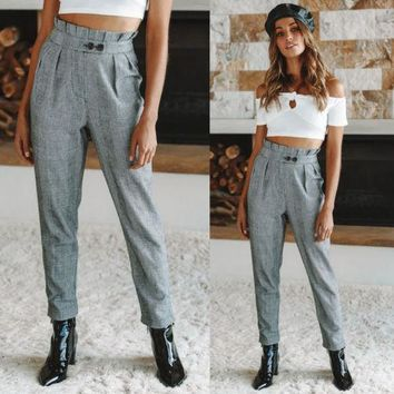 Fashion Women Pants Elastic Casual Ladies Long Trousers Vintage Grey Slim Houndstooth Stylish High Waist Button