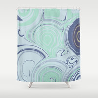 Spiraling Blue Shower Curtain by sm0w