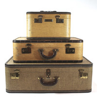 Vintage Suitcase Stack / Antique Suitcase / Vintage Luggage