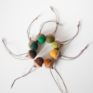 Set of felted wool acorns in harvest hues.  8 Autumn colors, Fall decor