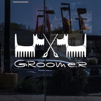 Window Vinyl Wall Decal Groomer Grooming Salon Pet Dog Beauty Stickers Mural Unique Gift (ig5227w)