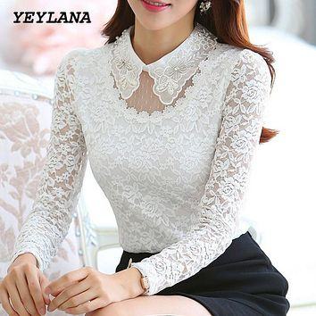 YEYELANA Women Blouses New 2017 Spring Casual Lace Blouse Elegant White Peter Pan Collar Long Sleeve Shirt blusas feminina A014